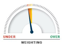 This diagram shows a dial representing overall risk, with underweight on the left-hand side and overweight on the right-hand side. An arrow on the dial points slightly to underweight.